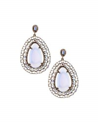 Bavna Chalcedony Moonstone And Champagne Diamond Drop Earrings