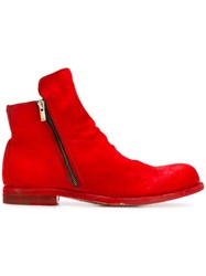 Officine Creative Zipped Ankle Boots Red