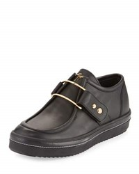 Giuseppe Zanotti Leather Platform Golden Buckle Sneaker Black