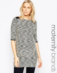 Mama Licious Mamalicious Zenia 3 4 Sleeve Maternity Bodycon Jersey Tunic With Shoulder Detail Grey