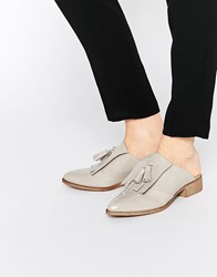 Asos Monument Leather Mules Grey