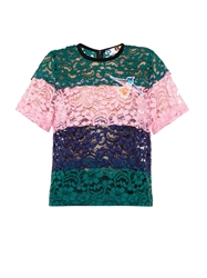 Msgm Striped Sheer Floral Lace Top