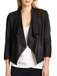 Alice Olivia Colton Draped Leather Jacket Black