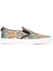 Gucci Gg Supreme Bengal Print Slip On Sneakers Almond