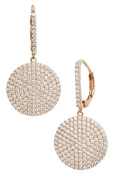 Nordstrom Pave Medium Disc Drop Earrings Clear Rose Gold