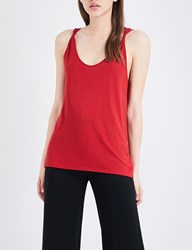 Theory Scarsdale Sleeveless Cotton Blend Top Crimson Red