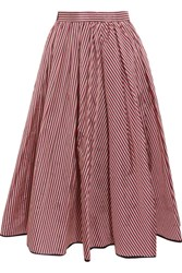Tome Striped Taffeta Midi Skirt Red