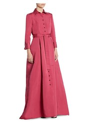 Carolina Herrera Silk Trench Gown Bright Pink
