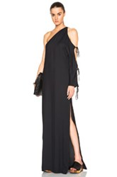 Rosetta Getty Crepe Sable One Sleeve Cutout Gown In Black