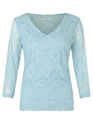 Kaliko Floral Lace Top Light Blue