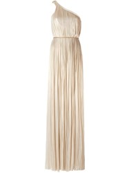 Maria Lucia Hohan Pleated One Shoulder Dress Metallic