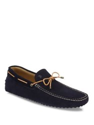 Tod's Perforated Suede Tie Drivers Blue