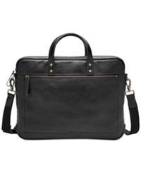 Fossil Men's Haskell Leather Briefcase Black
