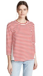 English Factory Eyelet Combo Striped Top Red