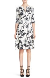 Naeem Khan Women's Floral Print Notch Neck A Line Dress