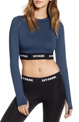 Ivy Park Logo Tape Open Back Crop Top Midnight Navy