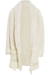 Agnona Looped Knit Cashmere And Silk Blend Coat White