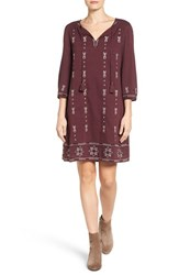 Caslonr Women's Caslon Three Quarter Sleeve Embroidered Shift Dress