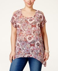 American Rag Plus Size Printed Cold Shoulder Blouse Only At Macy's Chalk Pink Combo