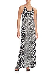 Paula Hermanny Mixed Print Silk Maxi Dress Black White