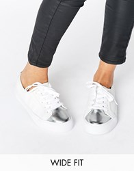 Asos Destiny Wide Fit Lace Up Trainer White