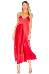 Off White Pleated Panel Slip Dress Red
