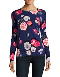Lord And Taylor Floral Long Sleeved Cardigan Purple