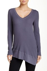Splendid V Neck Tunic Sweater Gray