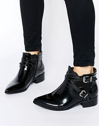 Glamorous Strap Chelsea Flat Ankle Boots Black High Shine