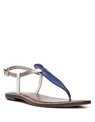 Sam Edelman Gigi Colorblock Leather Thong Sandals Blue Gold