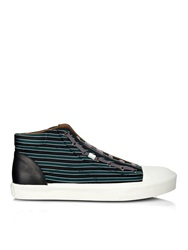 Lanvin Striped Woven Silk High Top Trainers