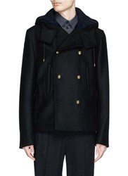 Dolce And Gabbana Double Faced Wool Hood Peacoat Black