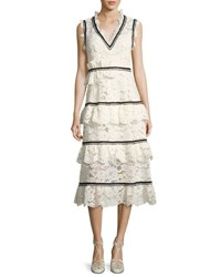 Self Portrait Tiered Lace Sleeveless Midi Dress White Black