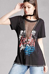 Forever 21 Mesh Panel Graphic Tee
