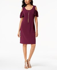 Jm Collection Cold Shoulder Removable Necklace Dress Pickled Beet