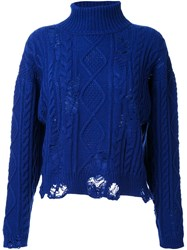 Miharayasuhiro Distressed Cable Knit Jumper Blue