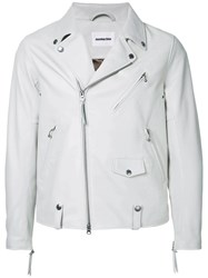 Monkey Time Zipped Biker Jacket White