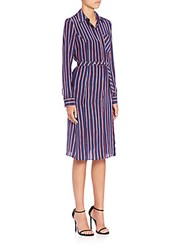 Altuzarra Marian Striped Silk Shirtdress Bright Red