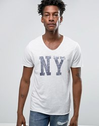 Selected Homme Indigo T Shirt With Scoop Neck And Ny Print Ny Print White