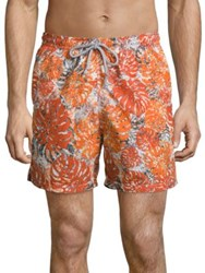 Saks Fifth Avenue Palm Leaf Camo Printed Swim Shorts Orange