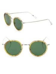 Kyme 46Mm Round Sunglasses Silver Green