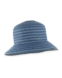 Eric Javits Braid Dame Upf 50 Packable Bucket Hat Blue