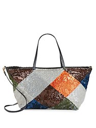 Valentino Beaded Colorblock Tote Multi