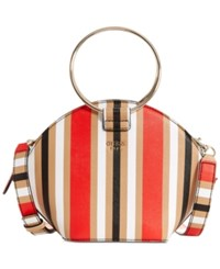 Guess Keaton Crescent Medium Top Handle Crossbody Multi Stripe
