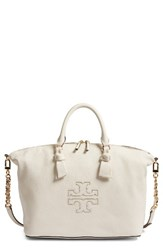 Tory Burch Harper Slouchy Leather Satchel White New Ivory