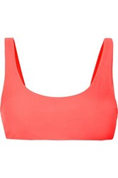 Jade Swim Rounded Edges Neon Bikini Top Bright Pink