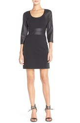 Women's Tart 'Roxy' Perforated Faux Leather And Ponte Sheath Dress
