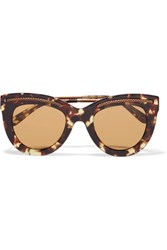 Bottega Veneta Cat Eye Acetate And Gold Tone Sunglasses Brown