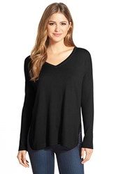 Women's Vince Camuto Rib Sleeve High Low V Neck Sweater