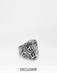 Reclaimed Vintage Lion Ring In Silver Silver